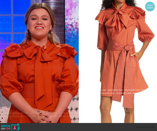 Marlee Bow Neck Belted Dress by Tanya Taylor worn by Kelly Clarkson  on The Kelly Clarkson Show