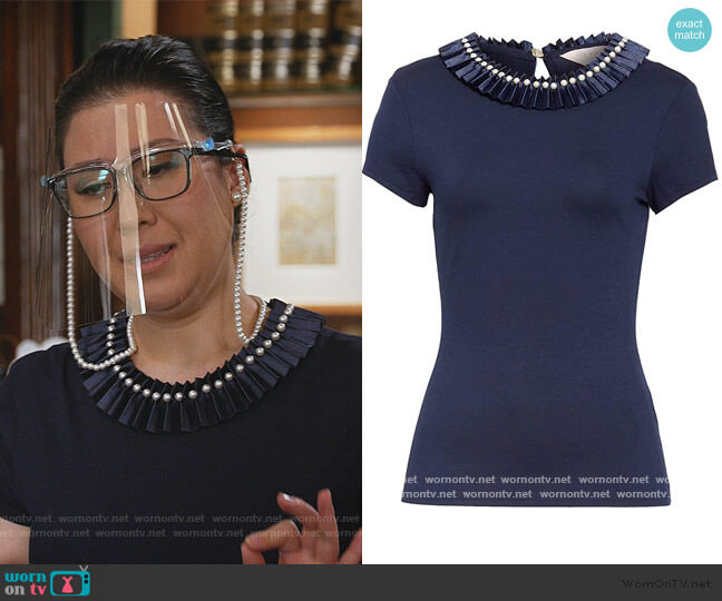 Nikita Blue Embellished Neck Fitted Tee by Ted Baker worn by Sherri Kansky (Ruthie Ann Miles) on All Rise