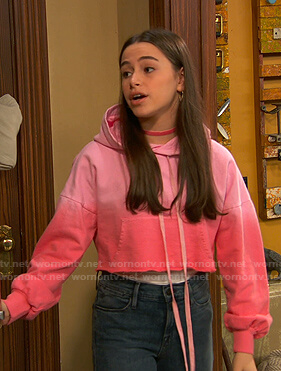 Tess's pink ombre cropped hoodie on Ravens Home
