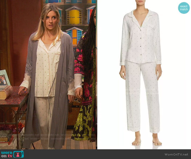 The Giving Palm PJ Set by Eberjey worn by Chelsea Grayson (Anneliese van der Pol) on Ravens Home