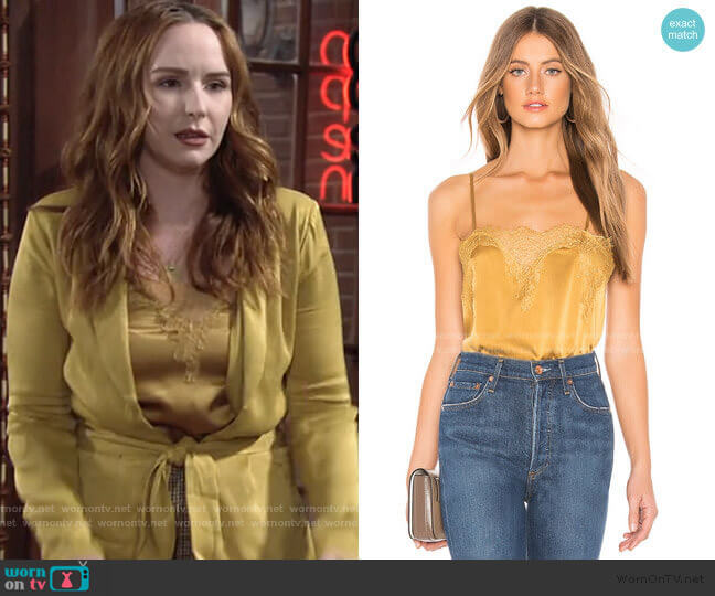 The Sweetheart Charmeuse Cami in Gold by Cami NYC worn by Mariah Copeland (Camryn Grimes) on The Young & the Restless