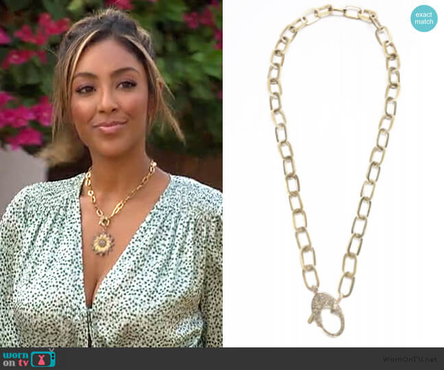 Brass Paperclip Chain by The Woods Fine Jewelry  worn by Tayshia Adams  on The Bachelorette