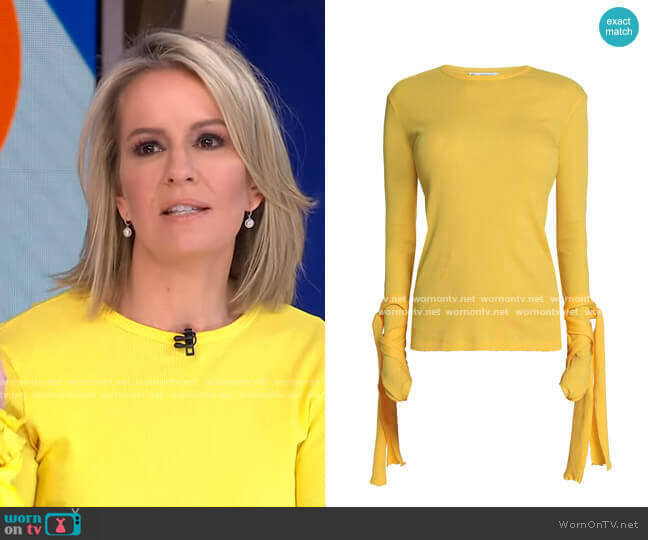 Tie-Detailed Ribbed Cotton-Jersey Top by JW Anderson worn by Dr. Jennifer Ashton  on Good Morning America