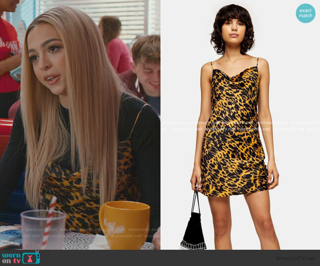 Mustard Animal Ruched Mini Satin Slip Dress by Topshop worn by Lexi (Josie Totah) on Saved By The Bell