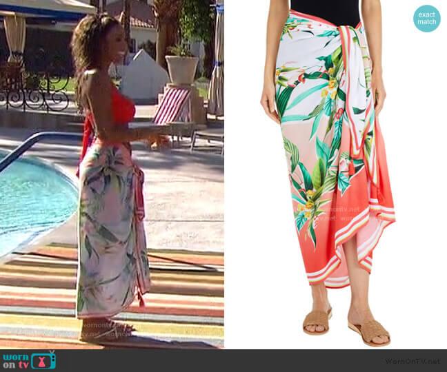 Pareo Wrap Beach Cover Up by Trina Turk worn by Tayshia Adams  on The Bachelorette
