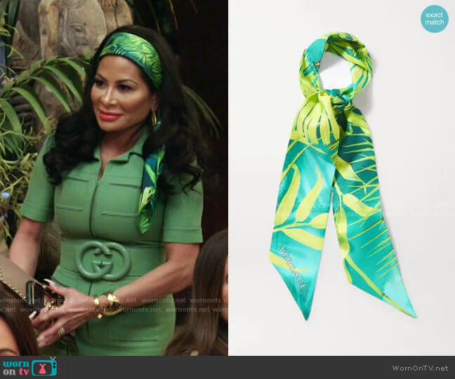 Tropical-Print Silk Scarf by Versace worn by Jen Shah  on The Real Housewives of Salt Lake City