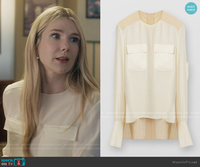 Chloe Two Tone Top In Crepe De Chine With Chest Pockets worn by Sylvia Steineitz (Lily Rabe) on The Undoing