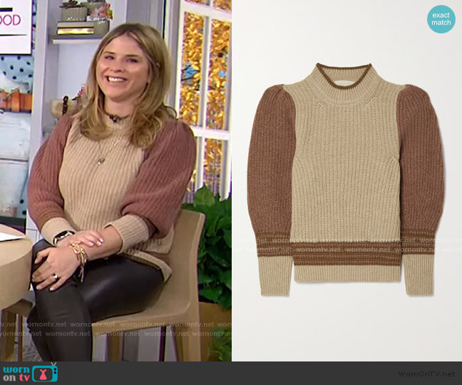 Poplia Color-Block Ribbed Alpaca-Blend Sweater by Vanessa Bruno worn by Jenna Bush Hager  on Today