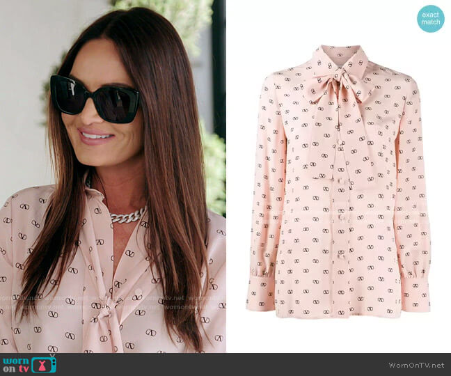 VLOGO Print Blouse by Valentino worn by Lisa Barlow  on The Real Housewives of Salt Lake City