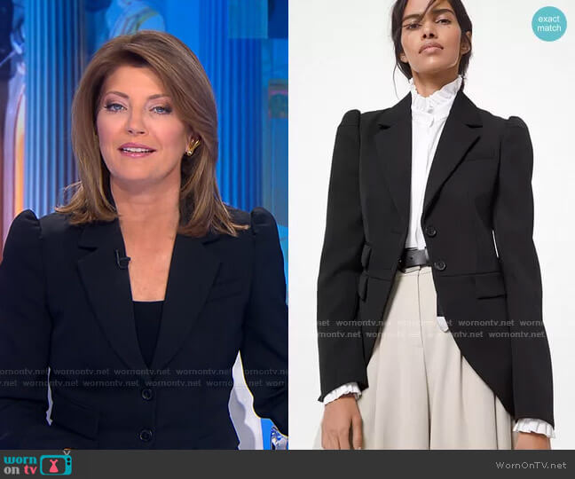 Wool Gabardine Cutaway Riding Jacket by Michael Kors worn by Norah O'Donnell  on CBS Evening News