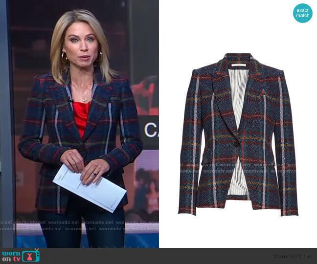 Zane Plaid Dickey Jacket by Veronica Beard  worn by Amy Robach  on Good Morning America