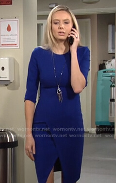 Abby's blue front slit dress on The Young and the Restless