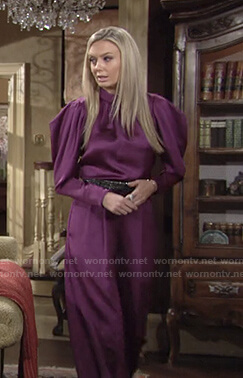 Abby's purple puff sleeve satin top and pants on The Young and the Restless