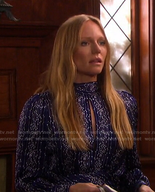Abigail's blue printed keyhole dress on Days of our Lives
