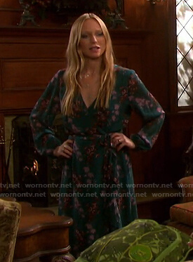 Abigail's green floral ruffle wrap dress on Days of our Lives
