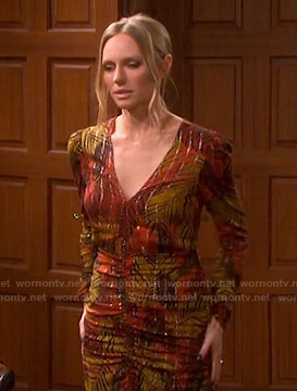 Abigail's orange printed ruched dress on Days of our Lives