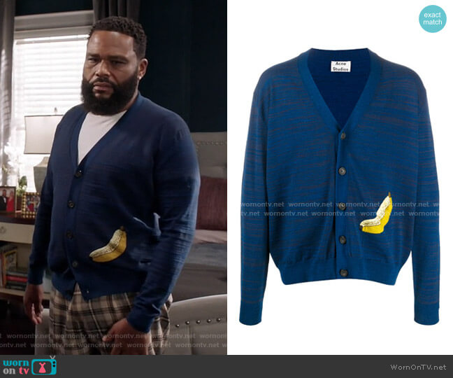 Banana Jacquard Cardigan by Acne Studios worn by Andre Johnson (Anthony Anderson) on Blackish