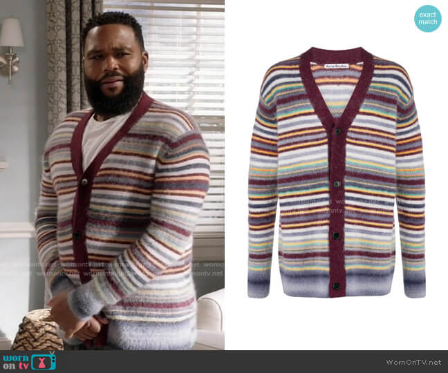 Striped V-neck Cardigan by Acne Studios worn by Andre Johnson (Anthony Anderson) on Blackish