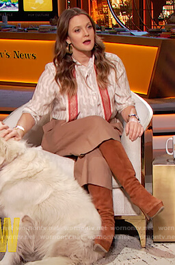Drew's white tie neck blouse on The Drew Barrymore Show