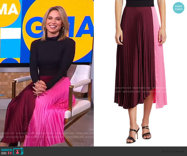Grainger Colorblock Pleated Midi Skirt by A.L.C. worn by Amy Robach  on Good Morning America