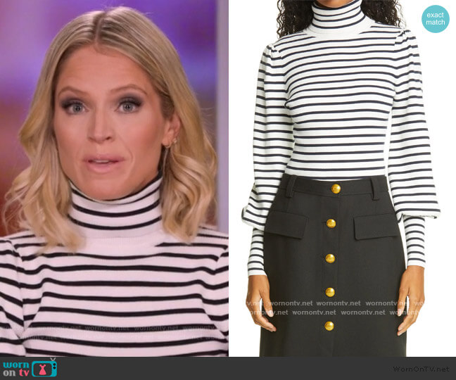 Karla Stripe Rib Bishop Sleeve Top by A.L.C. worn by Sara Haines  on The View