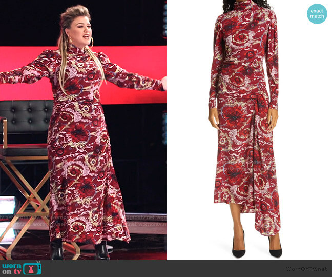 Isabella Floral Asymmetrical Maxi Dress by A.L.C. worn by Kelly Clarkson  on The Voice
