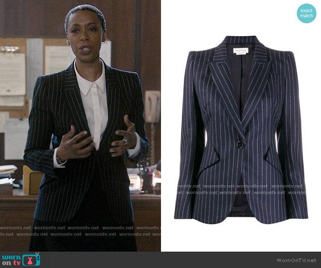 Alexander McQueen Fitted Pinstripe Blazer worn by Haley Fitzgerald (Noma Dumezweni) on The Undoing