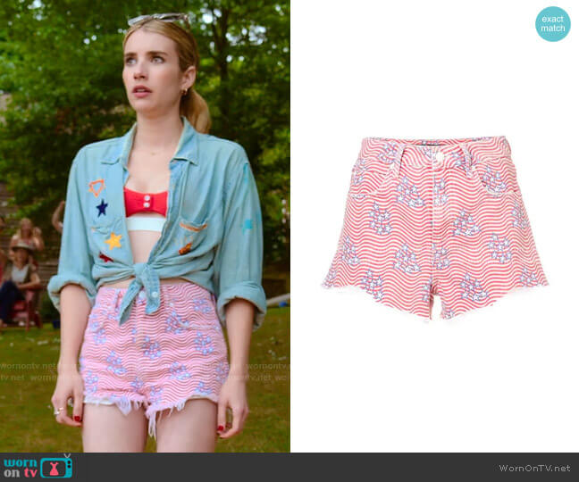 alexanderwang.t Stars-and-Stripes Denim Shorts worn by Sloan (Emma Roberts) on Holidate (2020)