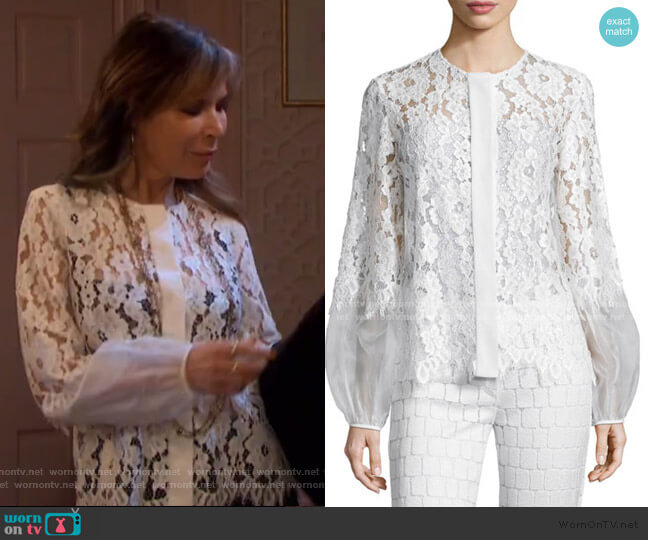 Sue Long-Sleeve Lace Blouse by Alexis worn by Kate Roberts (Lauren Koslow) on Days of our Lives