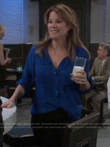 Alexis's blue button down blouse on General Hospital