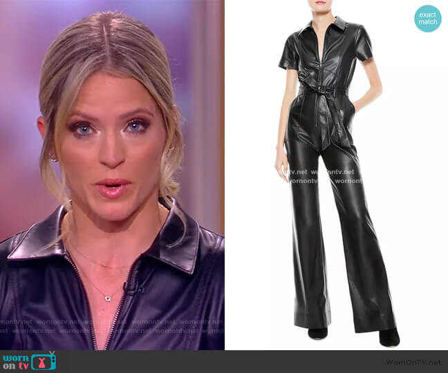 Gorgeous Faux Leather Jumpsuit by Alice and Olivia worn by Sara Haines  on The View