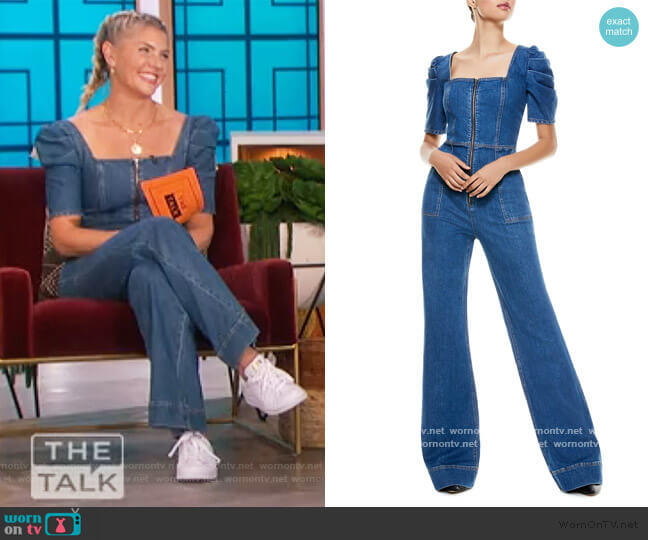 Kennedy Puff Sleeve Jumpsuit by Alice + Olivia worn by Amanda Kloots on The Talk