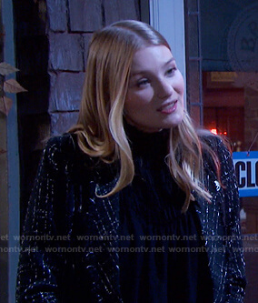 Allie's black smocked top and tweed blazer on Days of our Lives
