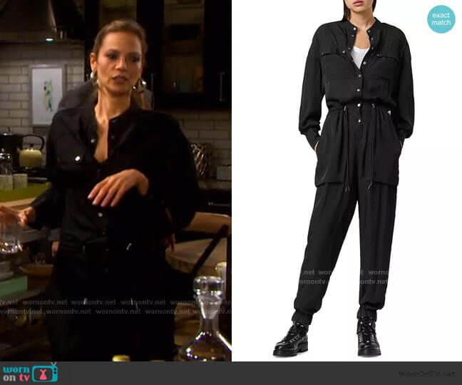 Enia Drawstring Waist Jumpsuit by All Saints worn by Tamara Braun on Days of our Lives worn by Ava Vitali (Tamara Braun ) on Days of our Lives