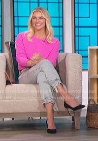 Amanda Kloots denim tie jeans on The Talk