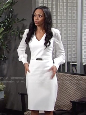 Amanda's white v-neck belted dress on The Young and the Restless