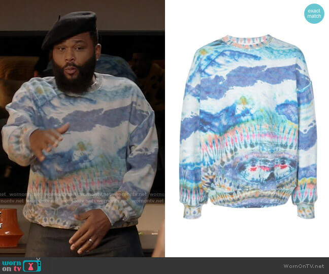 Tie Dye Print Sweatshirt by Amiri worn by Andre Johnson (Anthony Anderson) on Blackish