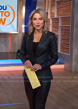 Amy's black leather blazer and pants on Good Morning America