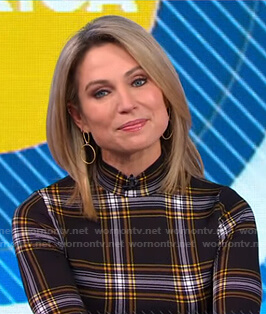Amy's black plaid mock neck top on Good Morning America
