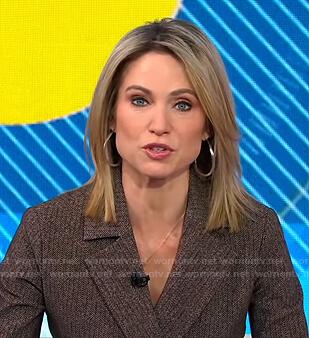 Amy's brown herringbone suit on Good Morning America