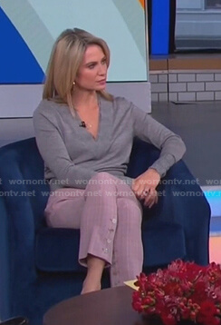 Amy's grey v-neck sweater and pink pants on Good Morning America