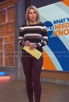 Amy's striped ribbed sweater and skinny pants on Good Morning America