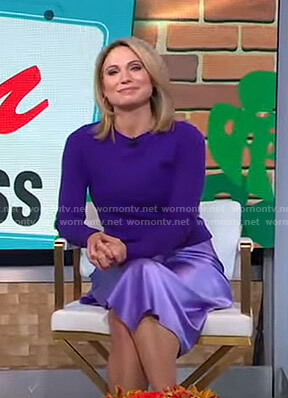 Amy's purple crewneck sweater and satin skirt on Good Morning America