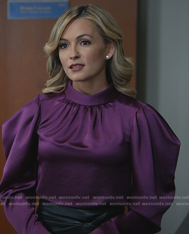 Amy's purple satin puff shoulder blouse on All Rise