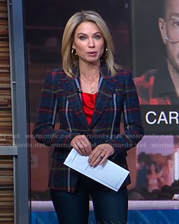 Amy's red top and plaid blazer on Good Morning America