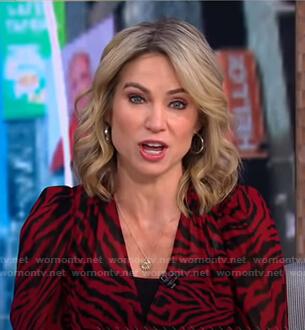 Amy's red zebra print dress on Good Morning America