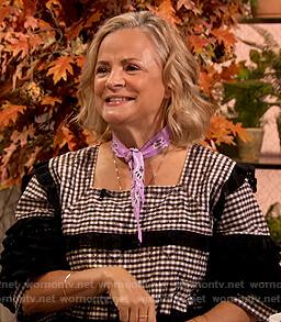 Amy Sedaris's gingham check dress on The Drew Barrymore Show