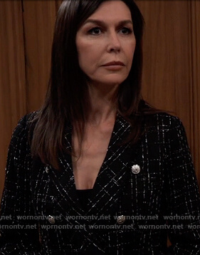 Anna's black tweed double breasted blazer on General Hospital