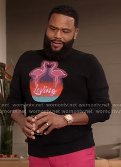 Andre's black flamingo print sweater on Black-ish