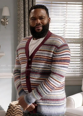 Andre's striped cardigan on Black-ish